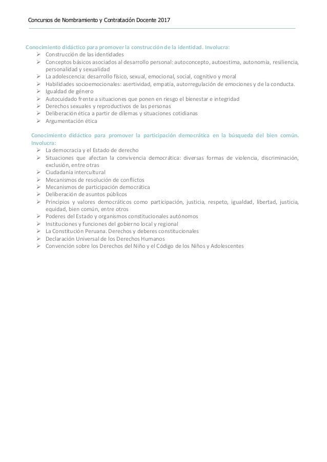 Concursos de Nombramiento y Contratación Docente 2017 Conocimiento didáctico para promover la construcción de la identidad...