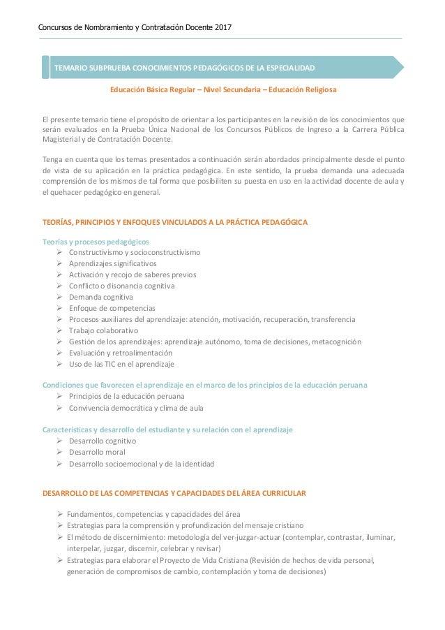 Concursos de Nombramiento y Contratación Docente 2017 TEMARIO SUBPRUEBA CONOCIMIENTOS PEDAGÓGICOS DE LA ESPECIALIDAD Educa...