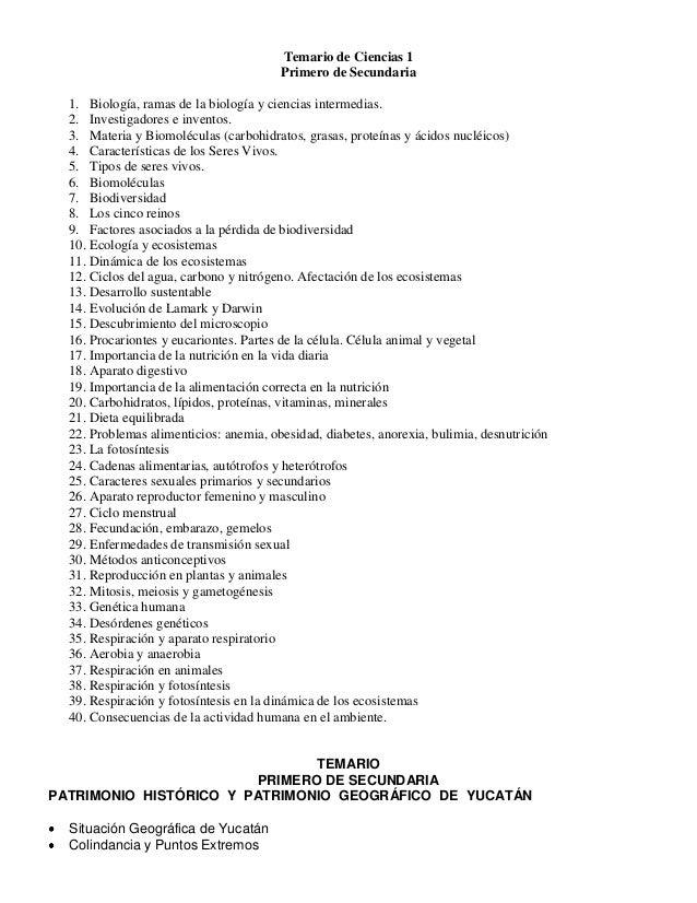 Temario de Ciencias 1                                        Primero de Secundaria  1. Biología, ramas de la biología y ci...