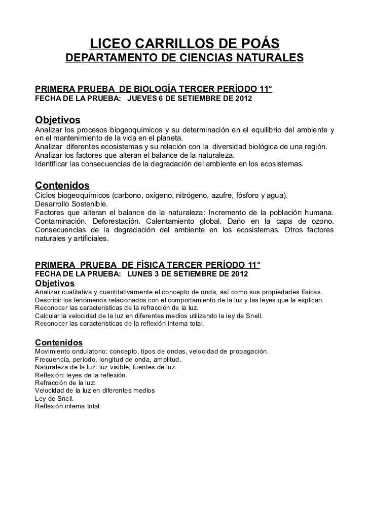 LICEO CARRILLOS DE POÁS          DEPARTAMENTO DE CIENCIAS NATURALESPRIMERA PRUEBA DE BIOLOGÍA TERCER PERÍODO 11°FECHA DE L...