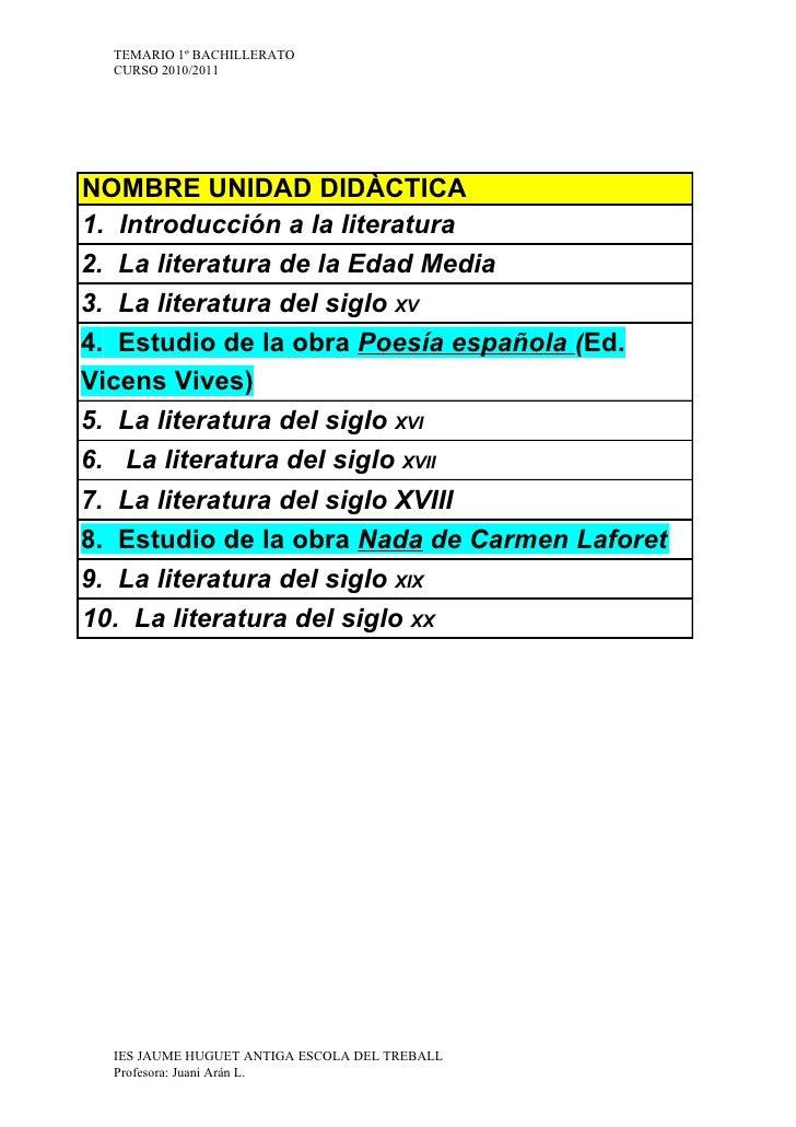 TEMARIO 1º BACHILLERATO   CURSO 2010/2011     NOMBRE UNIDAD DIDÀCTICA 1. Introducción a la literatura 2. La literatura de ...