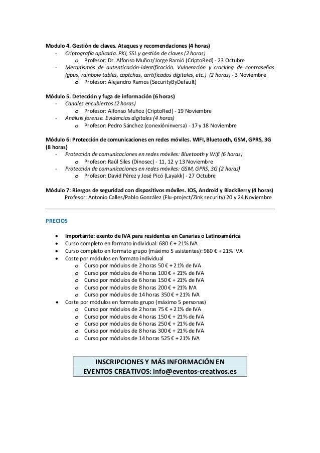 Modulo 4. Gestión de claves. Ataques y recomendaciones (4 horas)  - Criptografía aplicada. PKI, SSL y gestión de claves (2...