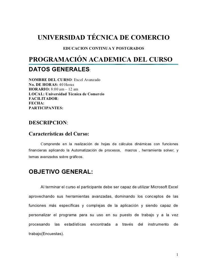 UNIVERSIDAD TÉCNICA DE COMERCIO                    EDUCACION CONTINUA Y POSTGRADOSPROGRAMACIÓN ACADEMICA DEL CURSODATOS GE...