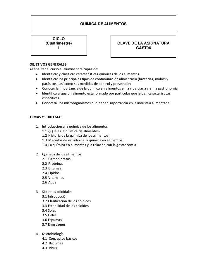 QUÍMICA DE ALIMENTOS             CICLO          (Cuatrimestre)                                 CLAVE DE LA ASIGNATURA     ...