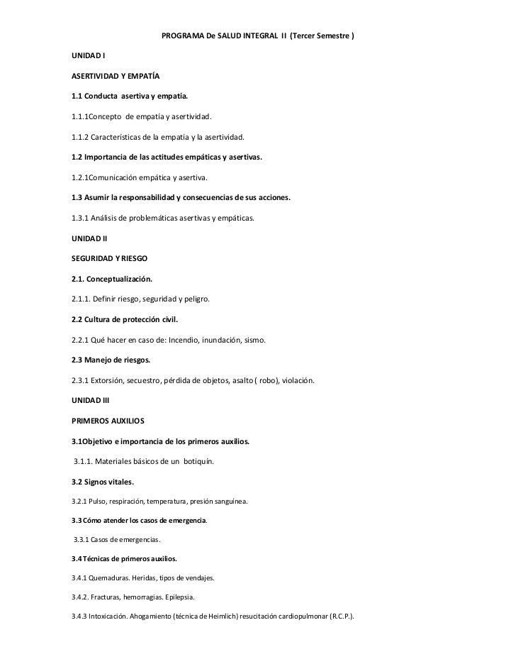 PROGRAMA De SALUD INTEGRAL II (Tercer Semestre )UNIDAD IASERTIVIDAD Y EMPATÍA1.1 Conducta asertiva y empatía.1.1.1Concepto...