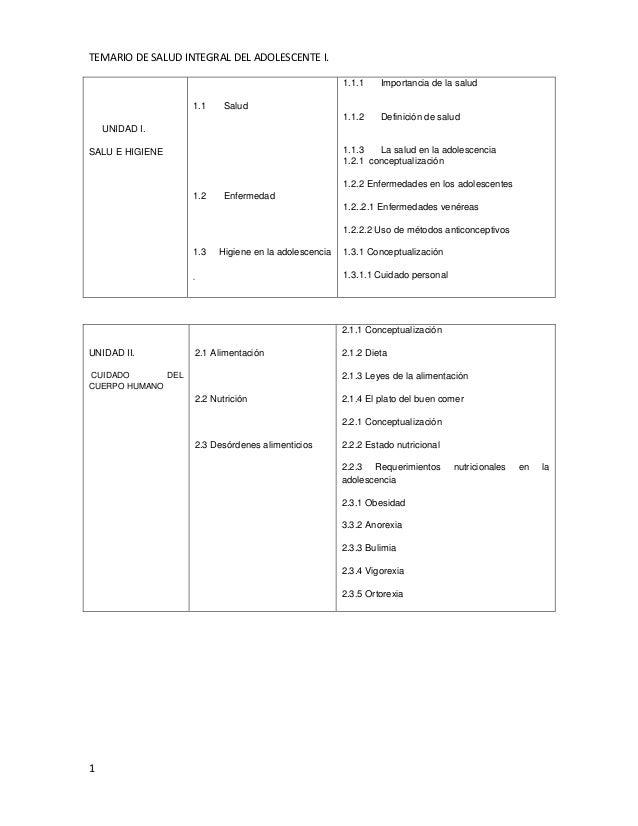 TEMARIO DE SALUD INTEGRAL DEL ADOLESCENTE I.  1  UNIDAD I.  SALU E HIGIENE  1.1 Salud  1.2 Enfermedad  1.3 Higiene en la a...