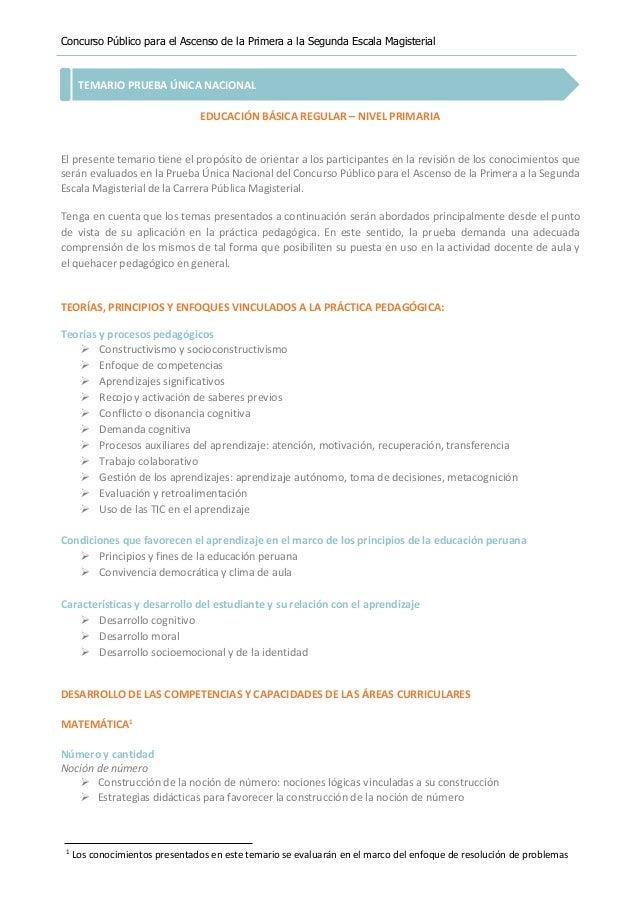 Concurso Público para el Ascenso de la Primera a la Segunda Escala Magisterial TEMARIO PRUEBA ÚNICA NACIONAL EDUCACIÓN BÁS...