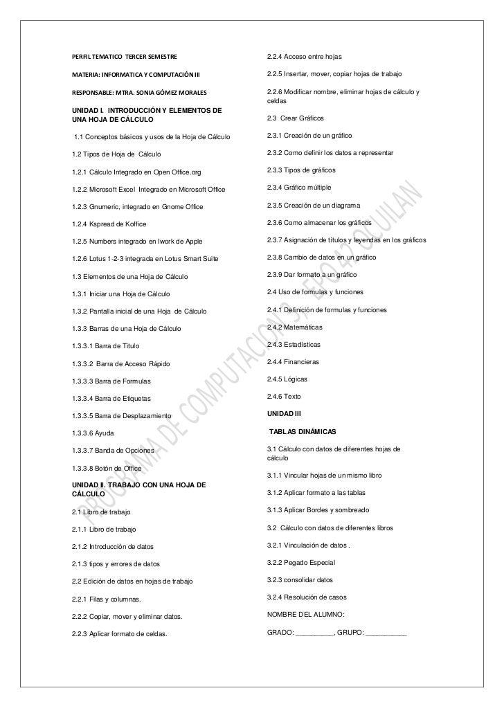 PERFIL TEMATICO TERCER SEMESTRE                       2.2.4 Acceso entre hojasMATERIA: INFORMATICA Y COMPUTACIÓN III      ...