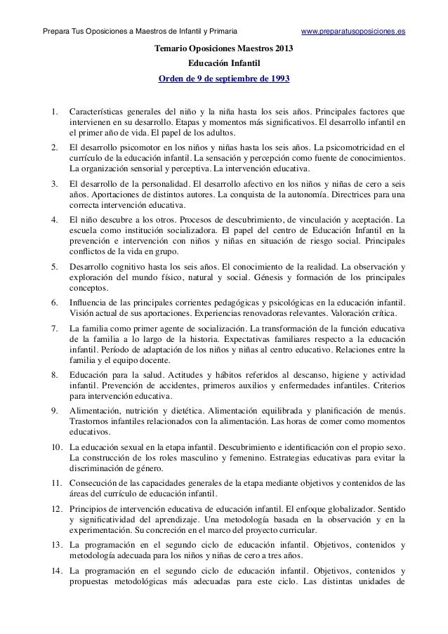 Temario Oposiciones Maestros 2013 Educación Infantil Orden de 9 de septiembre de 1993    1.   Características generales ...
