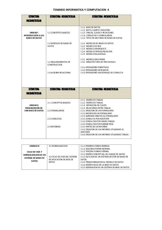 TEMARIO INFORMATICA Y COMPUTACION 4    ESTRUCTURA           ESTRUCTURA MESORETICULAR                    ESTRUCTURA MICRORE...