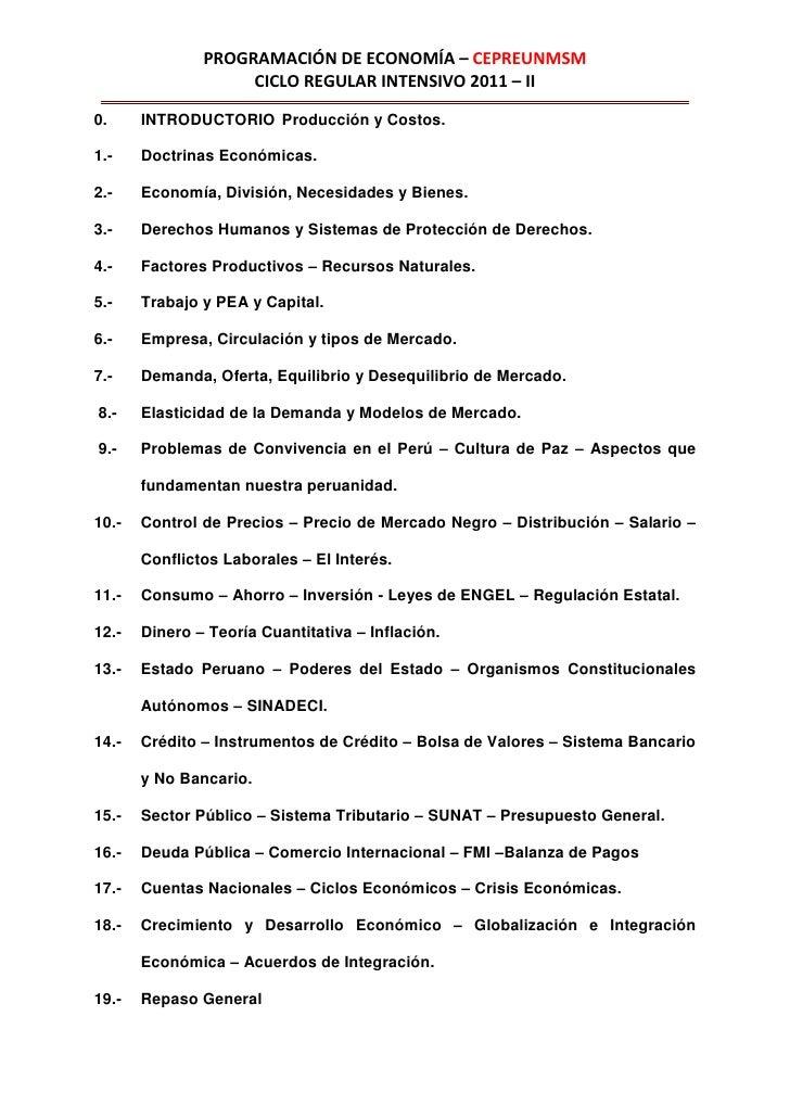 PROGRAMACIÓN DE ECONOMÍA – CEPREUNMSM                    CICLO REGULAR INTENSIVO 2011 – II0.     INTRODUCTORIO Producción ...