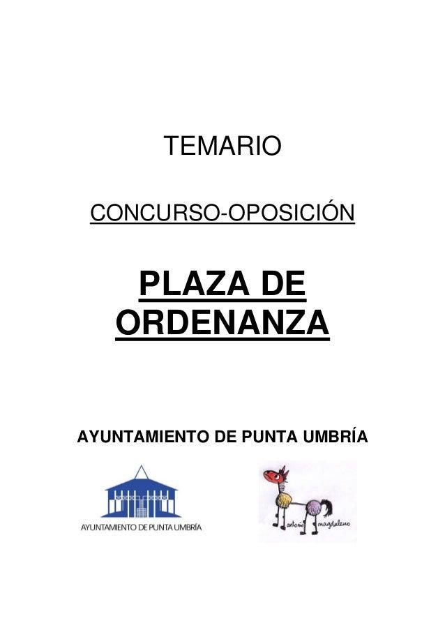TEMARIO CONCURSO-OPOSICIÓN PLAZA DE ORDENANZA AYUNTAMIENTO DE PUNTA UMBRÍA
