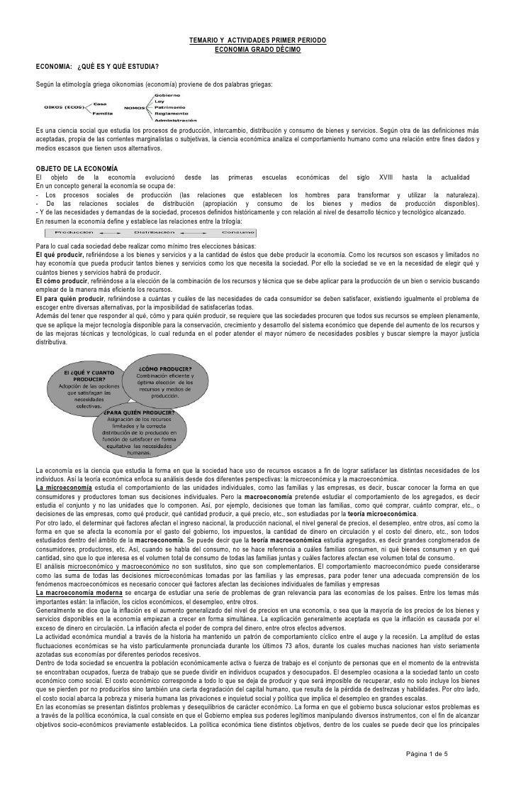 TEMARIO Y ACTIVIDADES PRIMER PERIODO                                                             ECONOMIA GRADO DÉCIMOECON...