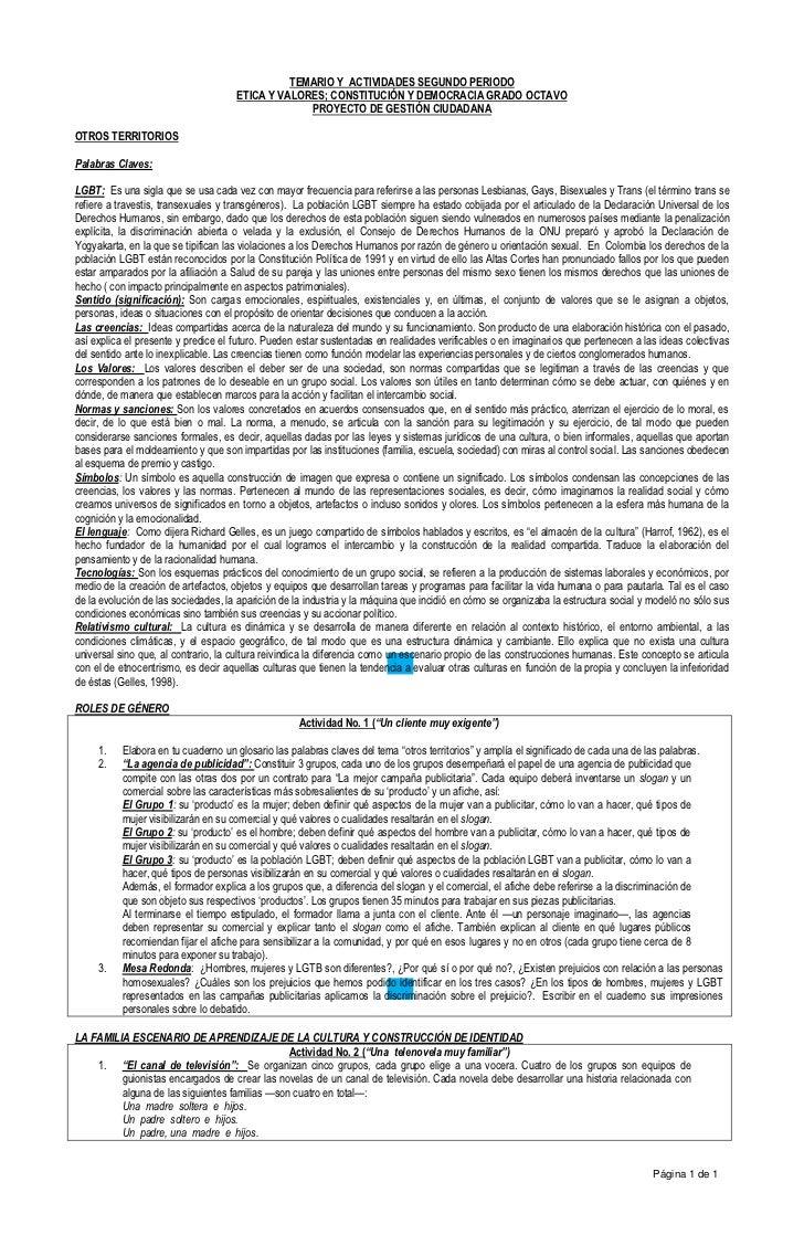 TEMARIO Y ACTIVIDADES SEGUNDO PERIODO                                     ETICA Y VALORES; CONSTITUCIÓN Y DEMOCRACIA GRADO...
