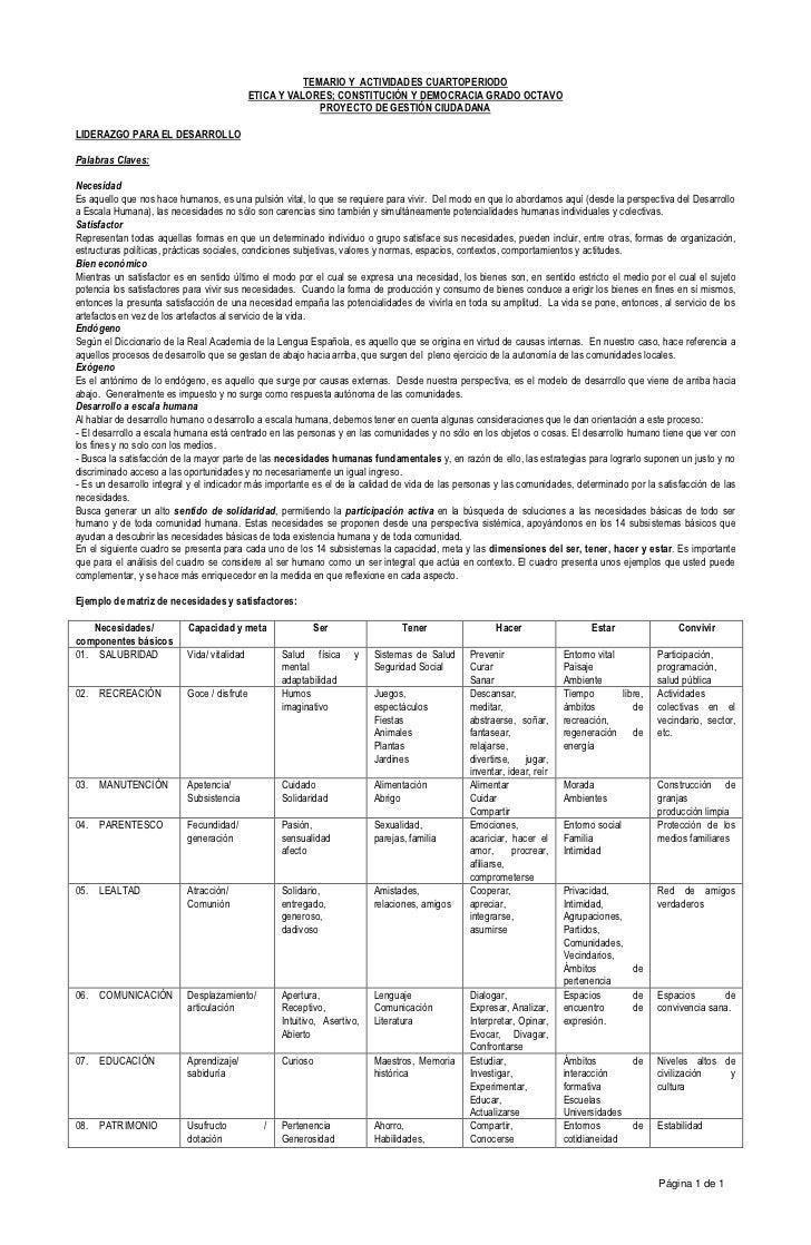 TEMARIO Y ACTIVIDADES CUARTOPERIODO                                            ETICA Y VALORES; CONSTITUCIÓN Y DEMOCRACIA ...