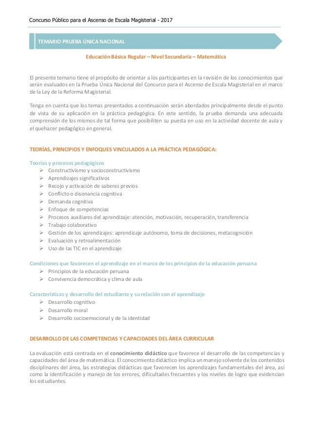 Concurso Público para el Ascenso de Escala Magisterial - 2017 TEMARIO PRUEBA ÚNICA NACIONAL Educación Básica Regular – Niv...