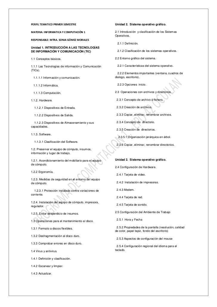 PERFIL TEMATICO PRIMER SEMESTRE                          Unidad 2. Sistema operativo gráfico.MATERIA: INFORMATICA Y COMPUT...
