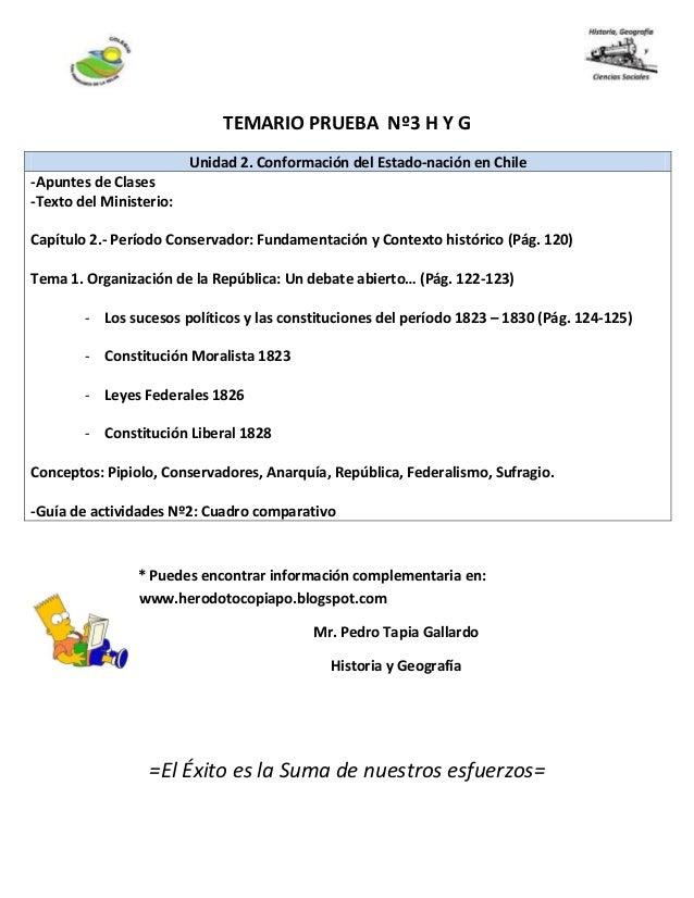 TEMARIO PRUEBA Nº3 H Y G * Puedes encontrar información complementaria en: www.herodotocopiapo.blogspot.com Mr. Pedro Tapi...