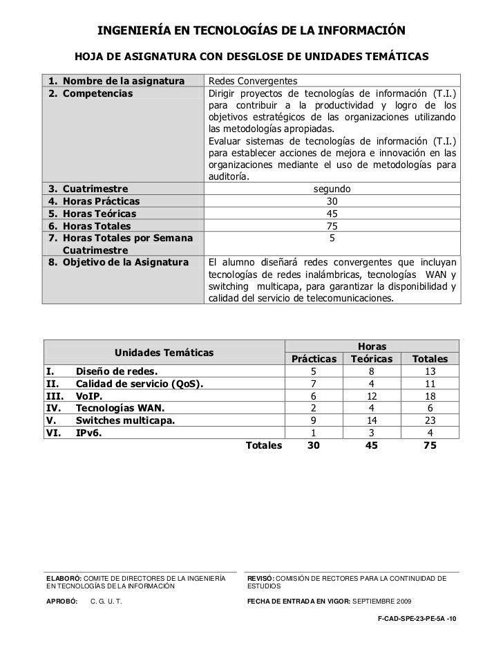 INGENIERÍA EN TECNOLOGÍAS DE LA INFORMACIÓN       HOJA DE ASIGNATURA CON DESGLOSE DE UNIDADES TEMÁTICAS1. Nombre de la asi...