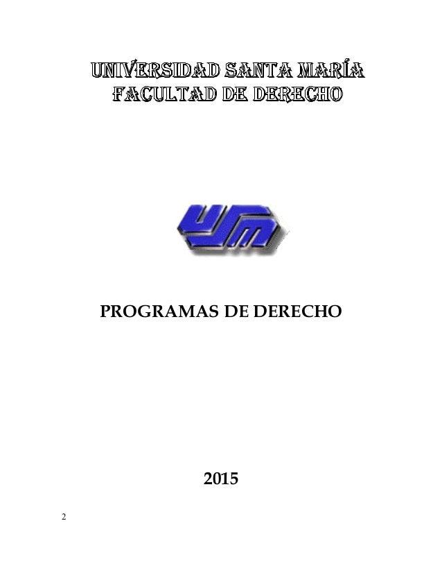 PROGRAMAS DE DERECHO 2015 2