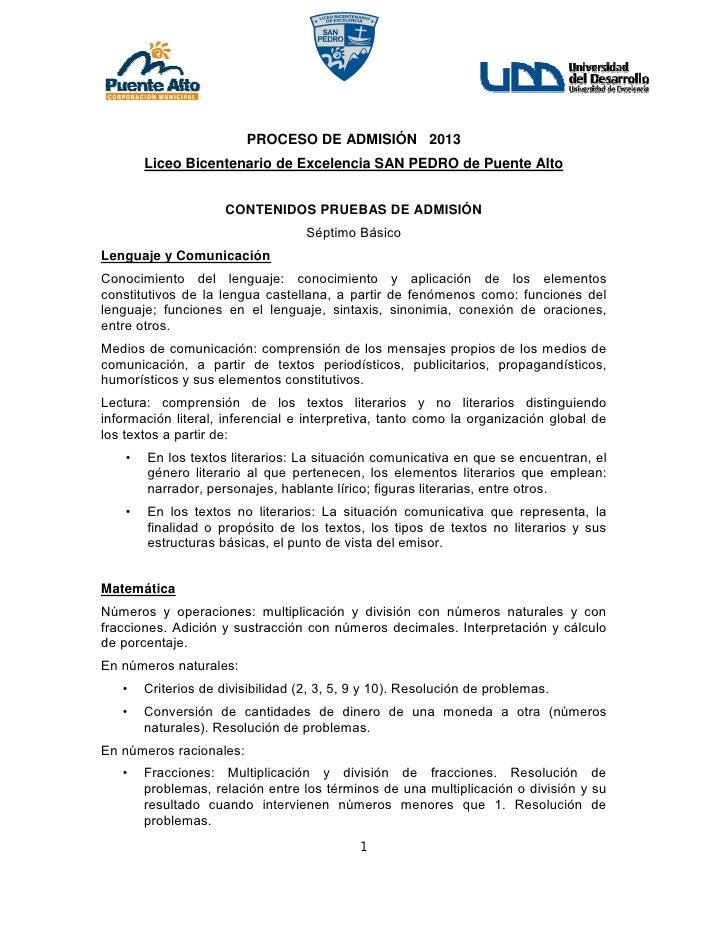 PROCESO DE ADMISIÓN 2013        Liceo Bicentenario de Excelencia SAN PEDRO de Puente Alto                      CONTENIDOS ...