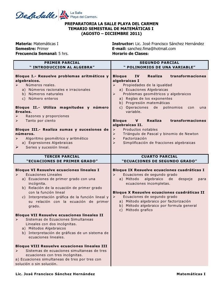 PREPARATORIA LA SALLE PLAYA DEL CARMEN                           TEMARIO SEMESTRAL DE MATEMÁTICAS I                       ...