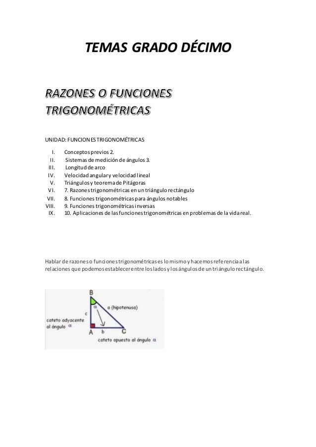 TEMAS GRADO DÉCIMO UNIDAD:FUNCIONESTRIGONOMÉTRICAS I. Conceptosprevios2. II. Sistemasde mediciónde ángulos3. III. Longitud...