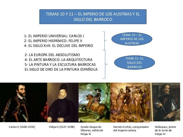TEMAS 10 Y 11 – EL MPERIO DE LOS AUSTRIAS Y EL SIGLO DEL BARROCO 1- EL IMPERIO UNIVERSAL: CARLOS I 2- EL IMPERIO HISPÁNICO...