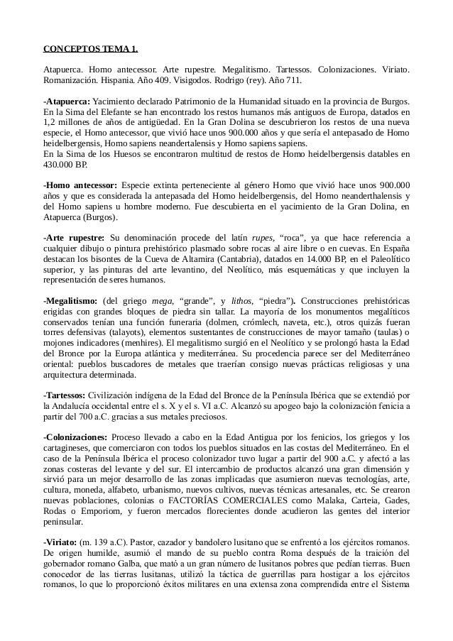 CONCEPTOS TEMA 1.  Atapuerca. Homo antecessor. Arte rupestre. Megalitismo. Tartessos. Colonizaciones. Viriato.  Romanizaci...