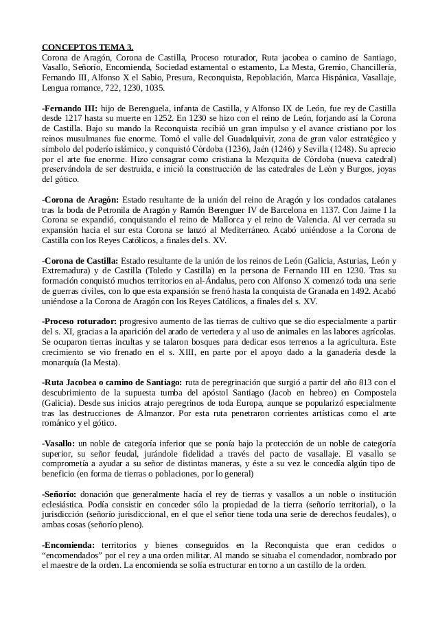 CONCEPTOS TEMA 3.  Corona de Aragón, Corona de Castilla, Proceso roturador, Ruta jacobea o camino de Santiago,  Vasallo, S...