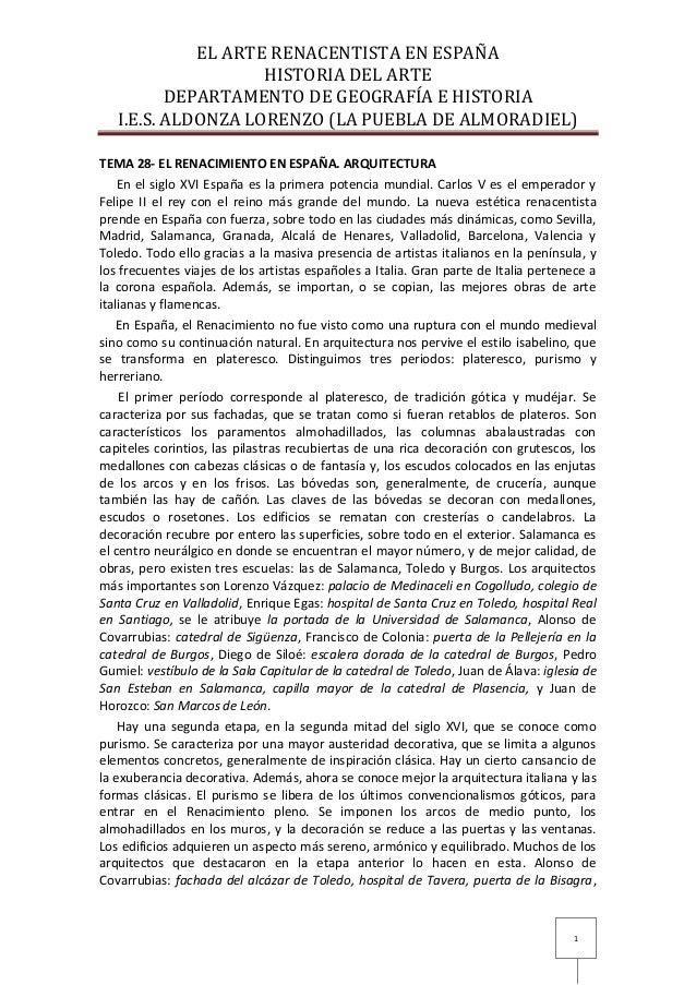 EL ARTE RENACENTISTA EN ESPAÑA                    HISTORIA DEL ARTE          DEPARTAMENTO DE GEOGRAFÍA E HISTORIA   I.E.S....