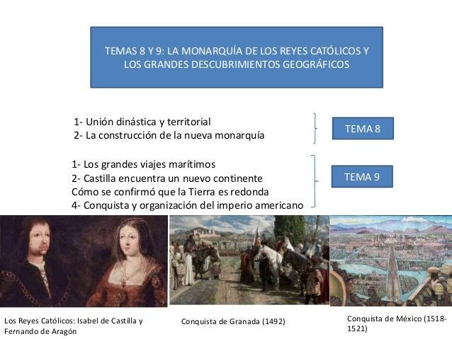 TEMAS 8 Y 9: LA MONARQUÍA DE LOS REYES CATÓLICOS Y LOS GRANDES DESCUBRIMIENTOS GEOGRÁFICOS 1- Unión dinástica y territoria...
