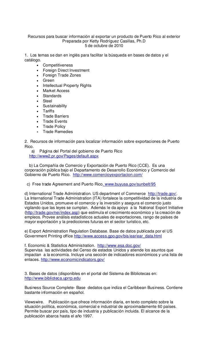 Recursos para buscar información al exportar un producto de Puerto Rico al exterior<br />Preparada por Ketty Rodríguez Cas...