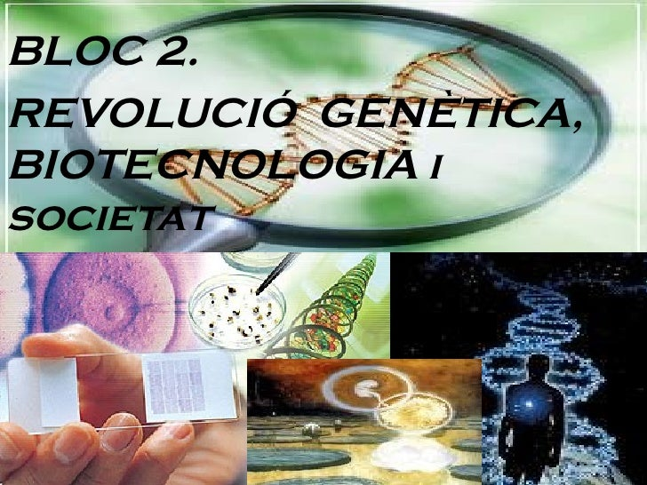 BLOC 2. REVOLUCIÓ  GENÈTICA, BIOTECNOLOGIA i societat