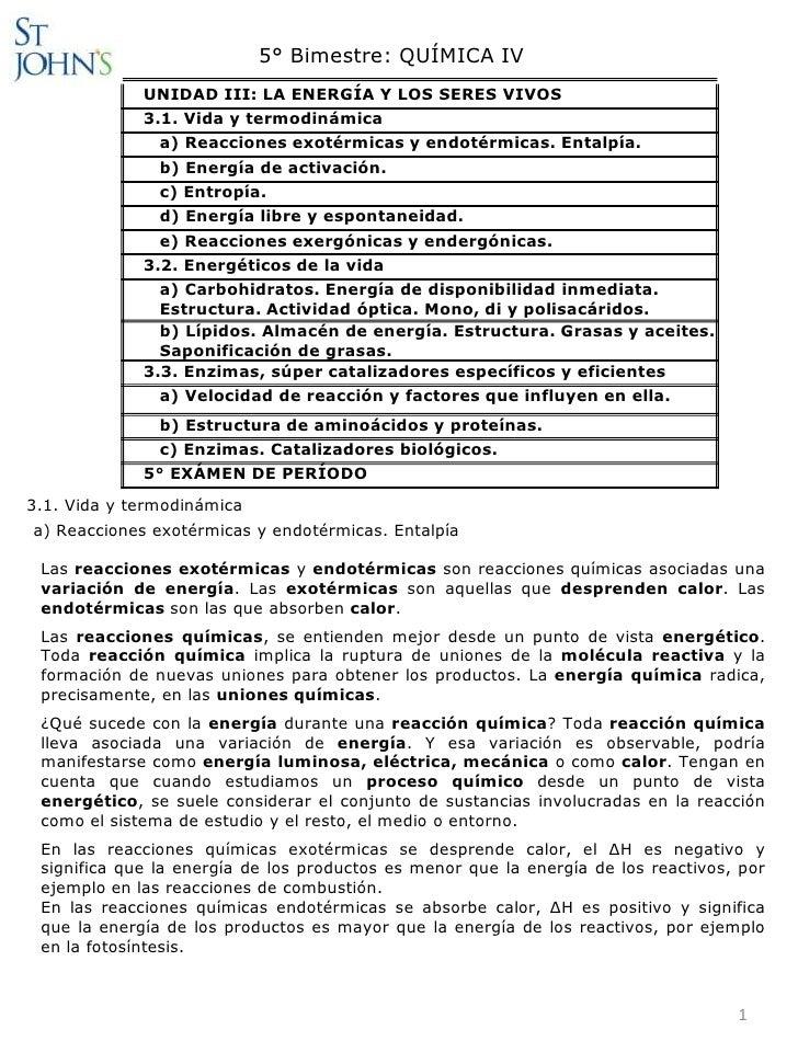 5° Bimestre: QUÍMICA IV             UNIDAD III: LA ENERGÍA Y LOS SERES VIVOS             3.1. Vida y termodinámica        ...