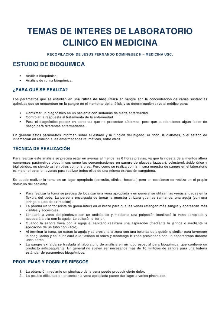 TEMAS DE INTERES DE LABORATORIO                CLINICO EN MEDICINA                      RECOPILACION DE JESUS FERNANDO DOM...