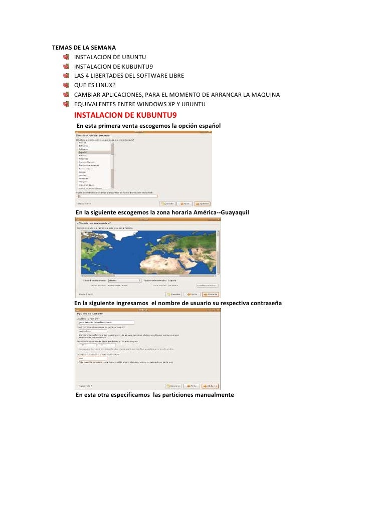 TEMAS DE LA SEMANA       INSTALACION DE UBUNTU       INSTALACION DE KUBUNTU9       LAS 4 LIBERTADES DEL SOFTWARE LIBRE    ...