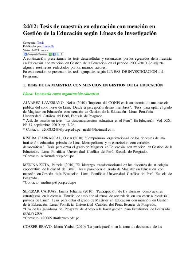 24/12: Tesis de maestría en educación con mención en Gestión de la Educación según Líneas de Investigación Categoría: Tesi...