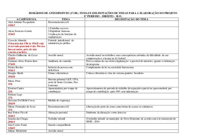 HORÁRIOS DE ATENDIMENTO (27.08), TEMAS E DELIMITAÇÕES DE TEMAS PARA A ELABORAÇÃO DO PROJETO 8º PERÍODO - DIREITO - SLO. AC...