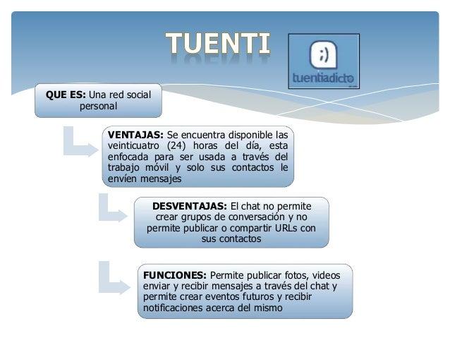 QUE ES: Una red social  personal  VENTAJAS: Se encuentra disponible las  veinticuatro (24) horas del día, esta  enfocada p...