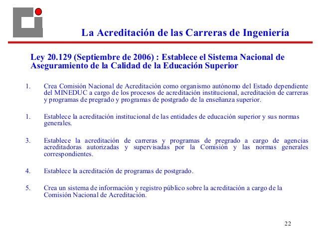 22 Ley 20.129 (Septiembre de 2006) : Establece el Sistema Nacional de Aseguramiento de la Calidad de la Educación Superior...