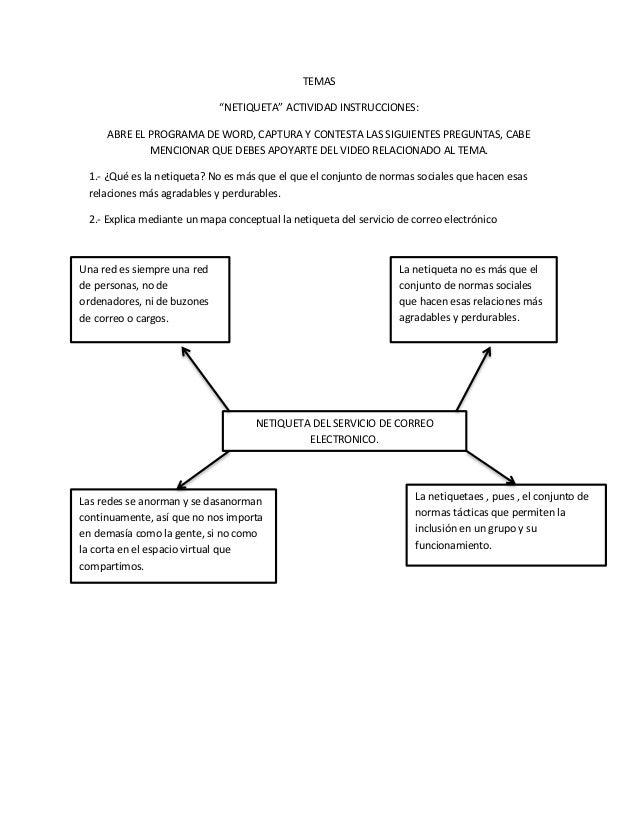 """TEMAS  """"NETIQUETA"""" ACTIVIDAD INSTRUCCIONES:  ABRE EL PROGRAMA DE WORD, CAPTURA Y CONTESTA LAS SIGUIENTES PREGUNTAS, CABE  ..."""