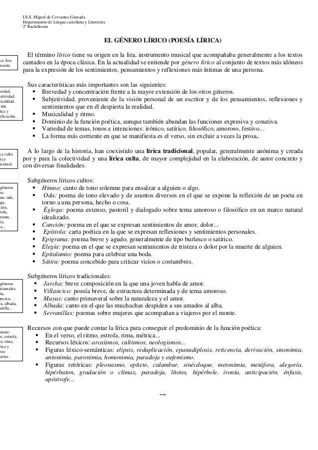 I.E.S. Miguel de Cervantes-Granada  Departamento de Lengua castellana y Literatura  2º Bachillerato  EL GÉNERO LÍRICO (POE...