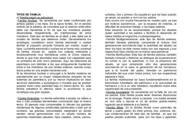 TIPOS DE FAMILIA a) Familia según su estructura: -Familia Nuclear: Se caracteriza por estar conformada por ambos padres y ...