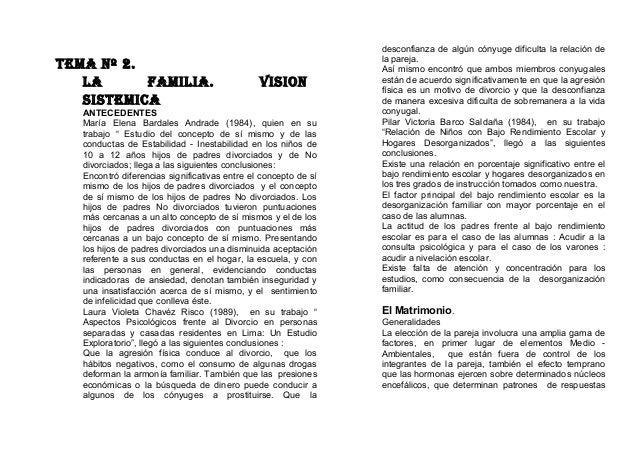 """TEMA Nº 2. LA FAMILIA. VISION SISTEMICA ANTECEDENTES María Elena Bardales Andrade (1984), quien en su trabajo """" Estudio de..."""