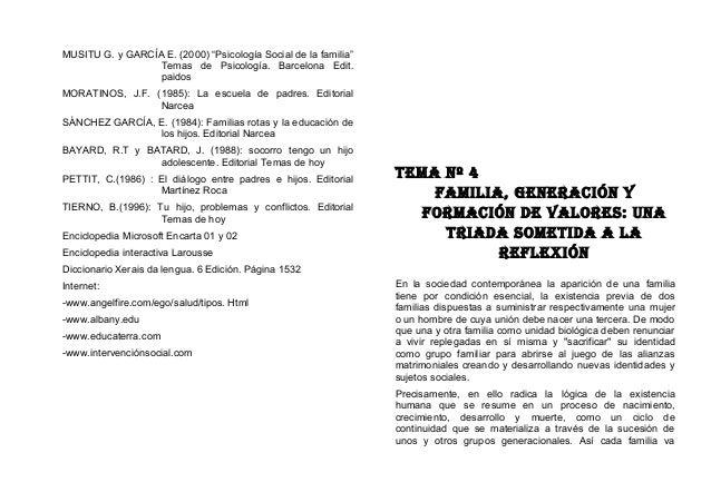 """MUSITU G. y GARCÍA E. (2000) """"Psicología Social de la familia"""" Temas de Psicología. Barcelona Edit. paidos MORATINOS, J.F...."""