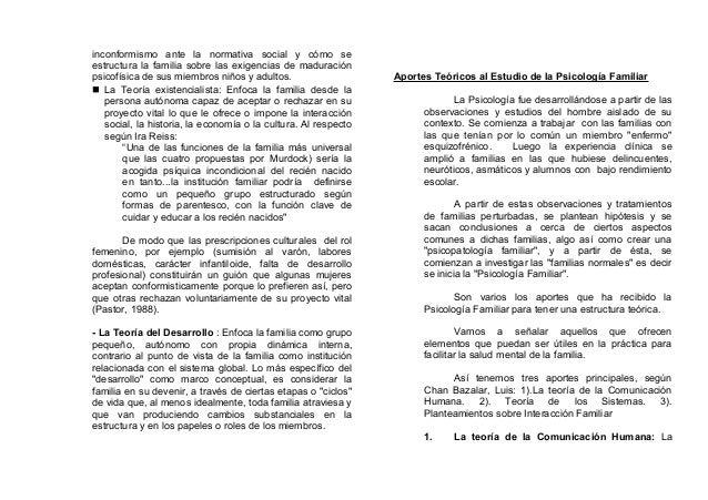 inconformismo ante la normativa social y cómo se estructura la familia sobre las exigencias de maduración psicofísica de s...