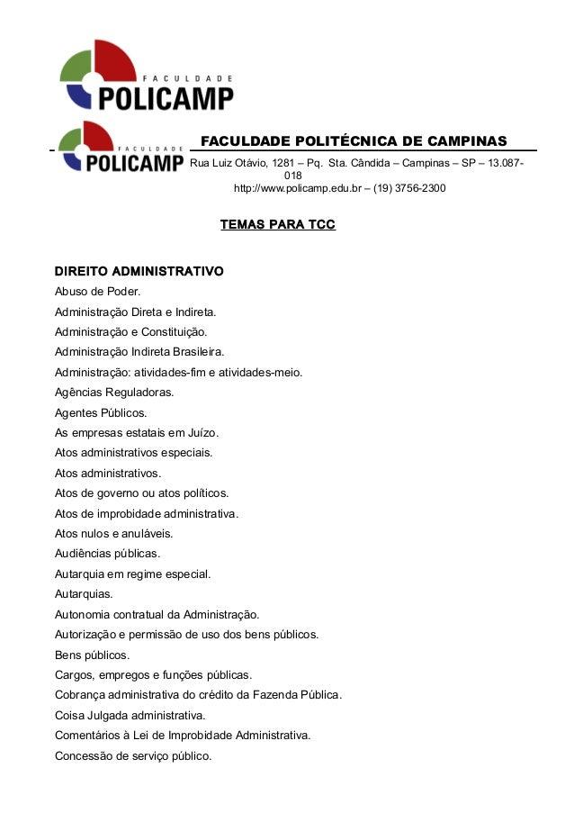 FACULDADE POLITÉCNICA DE CAMPINAS  Rua Luiz Otávio, 1281 – Pq. Sta. Cândida – Campinas – SP – 13.087-  018  http://www.pol...