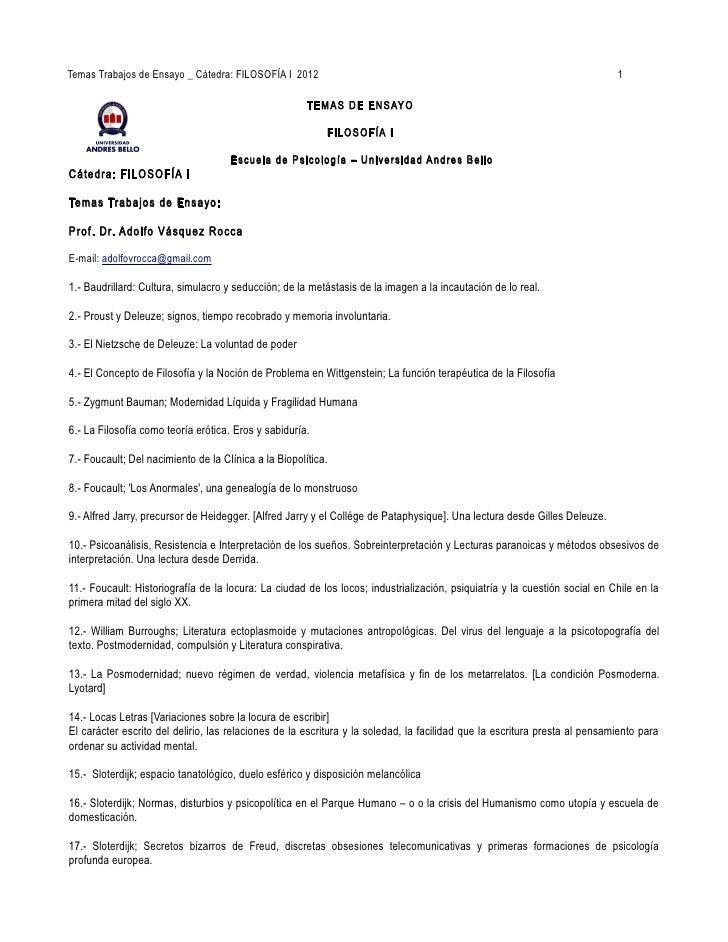 Temas Trabajos de Ensayo _ Cátedra: FILOSOFÍA I 2012                                                                      ...
