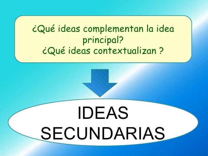 ¿Qué ideas complementan la idea principal? ¿Qué ideas contextualizan ? IDEAS SECUNDARIAS